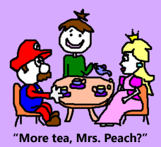 super mario and princess peach having tea